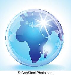 y, globo, áfrica, medio, europa, este