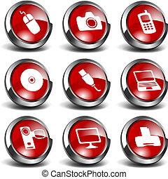 y, iconos, multimedia, 1, tecnología, 3d