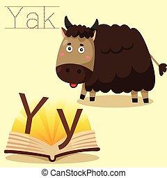 y, illustrator, yak, woordenschat