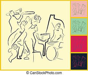 y, instrumentos, banda jazz, vivo, melancolía, juego