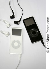 y, ipod, jugador, negro, mp3, playerblack, blanco