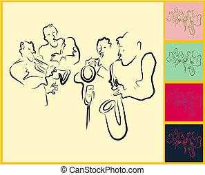 y, jazz, banda viva, saxaphone, melancolía, trompeta, juego
