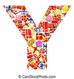 Y Letter - Alphabet made of giftboxes