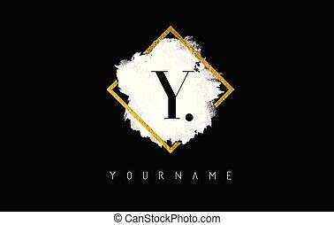 Y Letter Logo Design with White Stroke and Golden Frame.