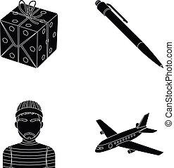 y, otro, tela, icono, en, negro, style., entrenamiento, transporte, iconos, en, conjunto, collection.