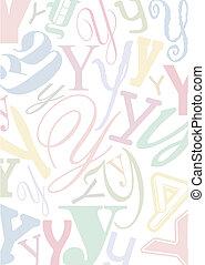 y, pastell, colorato, lettera