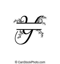 y, plante, initiale, vecteur, monogram, fente, lettre, décoratif