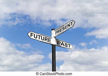 y, poste indicador, cielo, pasado, futuro, presente
