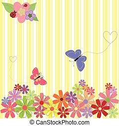 y, primavera, mariposas, fondo amarillo, flores, raya