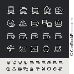 y, servidor, red, iconos