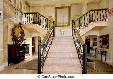 Y-shaped staircase - Exquisite Y-shaped staircase in a house...