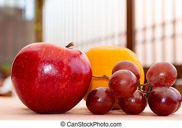 y, uvas, manzana, naranja, roja