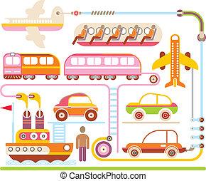 y, viaje, -, ilustración, vector, transporte