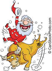 Santa-Klaus skips astride a bull