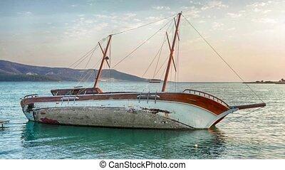 Yacht Aground, Sailboat Semi-Sunk, Stricken Gulet. - Turksh...