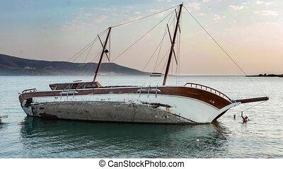 Yacht Aground, Sailboat Semi-Sunk, Stricken Ship. - View of...
