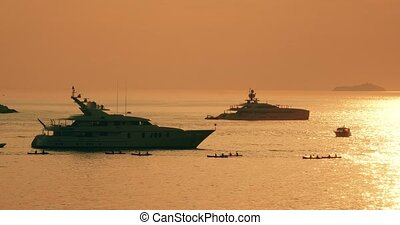 Yacht anchored in Dubrovnik waters at sunset - Sunset scene...