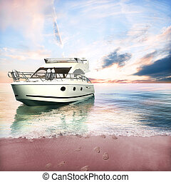 Yacht anchored on the beach