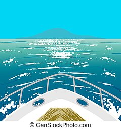 yacht and island in ocean - Deck of yacht and island in...