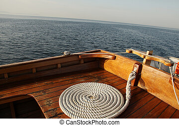 Yacht and rope