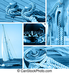 Yacht and sailboat collage - Collage of boat and maritime...