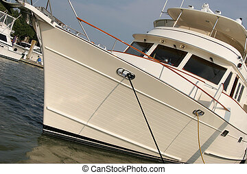 Angled view of a moored yacht