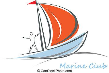 yacht, barca vela, con, uno, marinaio