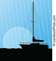 yacht, bateau, vecteur, voile, fond