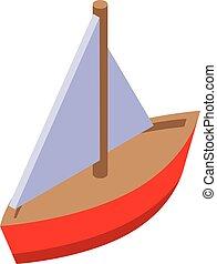 Yacht bath toy icon, isometric style