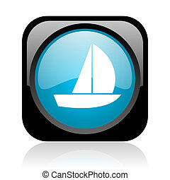 yacht black and blue square web glossy icon