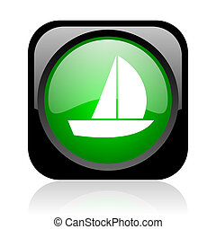 yacht black and green square web glossy icon