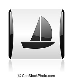 yacht black and white square web glossy icon