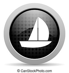 yacht black circle web glossy icon