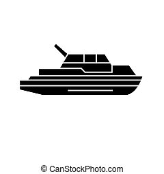Yacht black icon concept. Yacht vector sign, symbol, illustration.