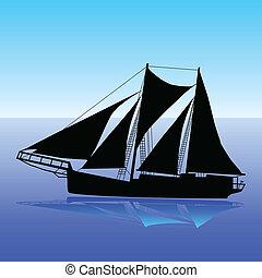 Yacht black slhouette