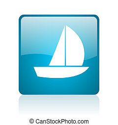 yacht blue square web glossy icon