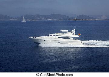 Yacht, boat cruising mediterranean sea. Spain
