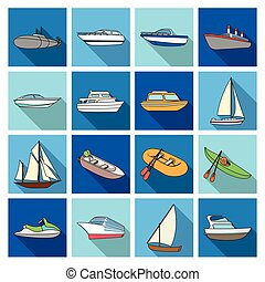 Yacht, boat, liner, types of ship and water transport. Ship and water transport set collection icons in flat style vector symbol stock illustration web.