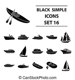 Yacht, boat, liner, types of ship and water transport. Ship and water transport set collection icons in black style vector symbol stock illustration web.