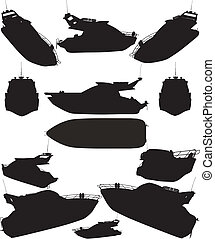 Yacht Boat Silhouettes Vector