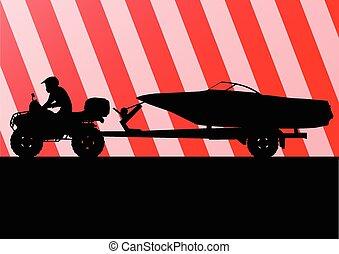 Yacht boat trailer vector