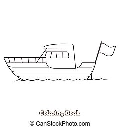 Yacht cartoon coloring book vector illustration