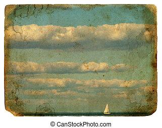 yacht, clouds., vieux, voile, postcard.