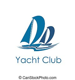 Yacht club icon design with sailing sport sailboat
