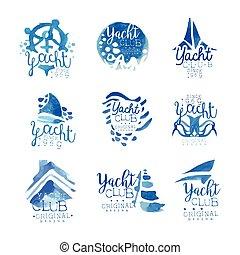 Yacht club, sailing sports or marine travel vector...