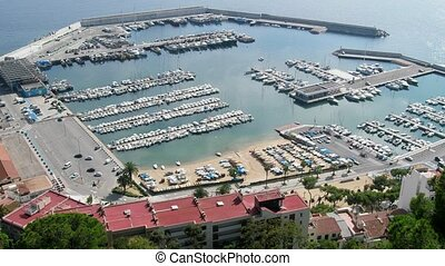 Yacht club with large number of boats, yachts, sailboat -...