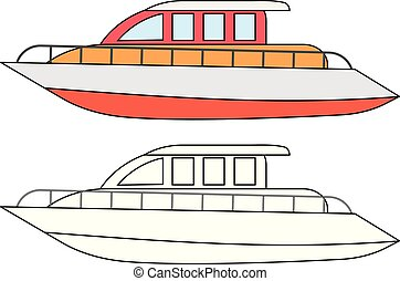 Yacht, coloring page. Vector illustration.