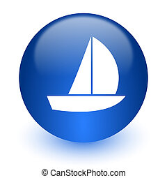yacht computer icon on white background - web icon on white ...