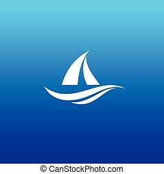 yacht, conception, logo, bateau, logo, vecteur