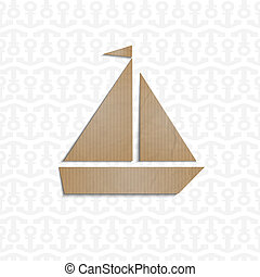 Yacht cut out of cardboard. Vector EPS10